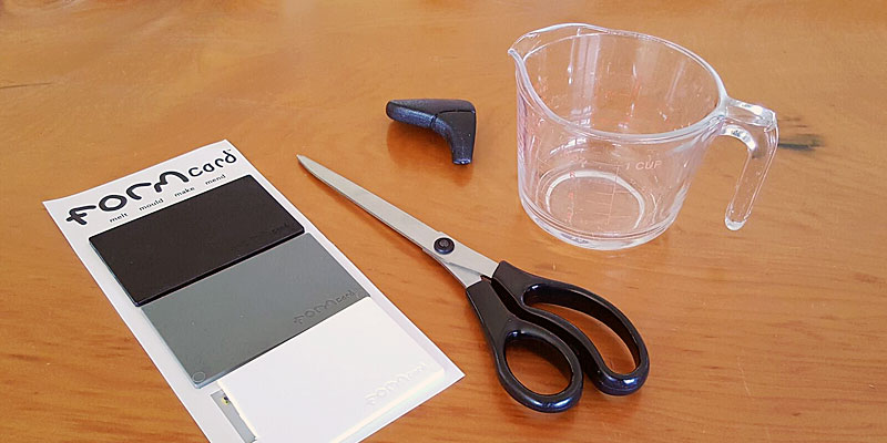Formcard, Scissors, Glass Jug, Broken Plastic Handle - ready to repair