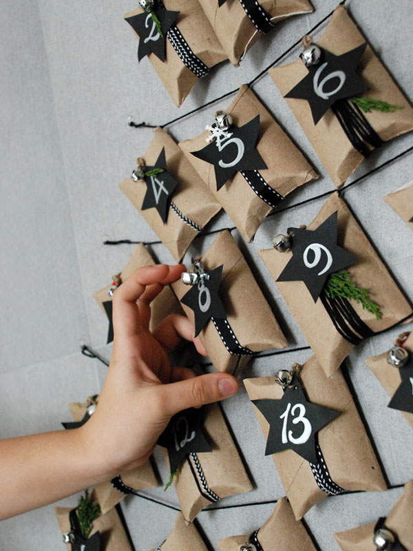 DIY Advent Calendar Ideas - Toilet Roll Advent Tree Wall Hanging by Casa Haus