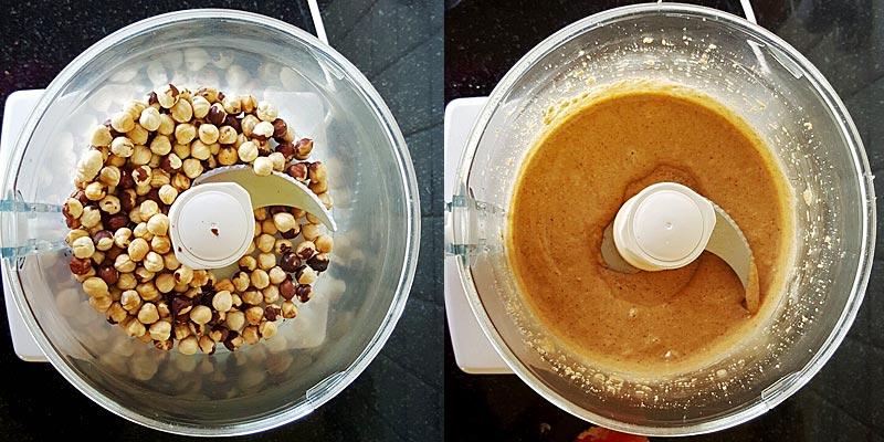 Hazelnuts in Food Processor from Nuts to Slurry