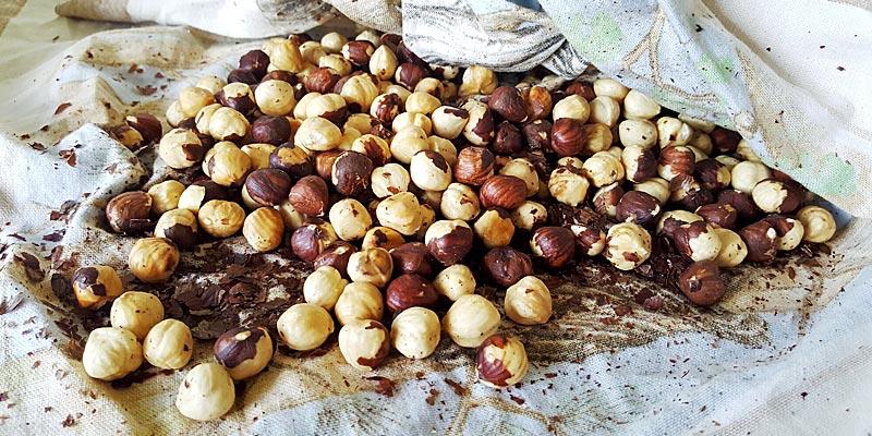 Roasted Hazelnuts in a Tea Towel