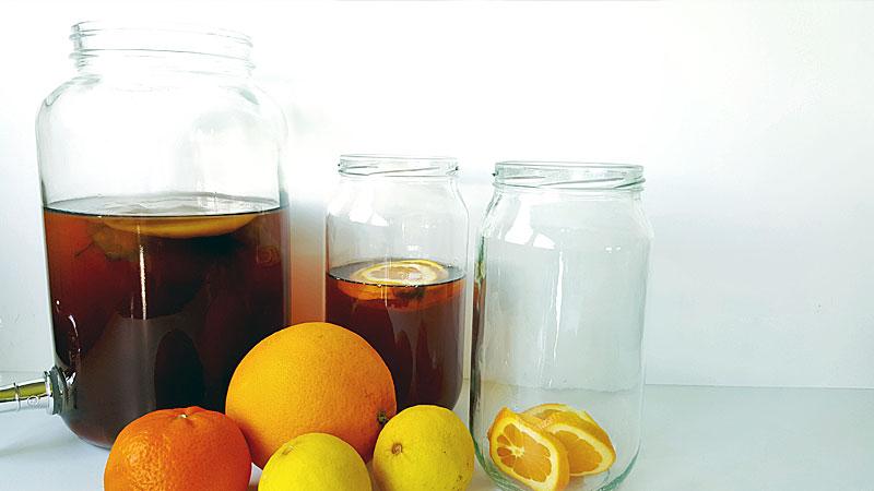 Kombucha homebrew recipe in a jar