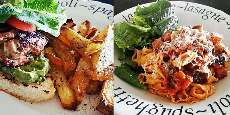 Chicken & Courgette Burgers plus Aubergine & Tomato Pasta