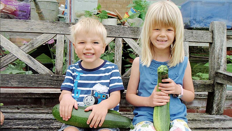 Our proud kids with their marrows