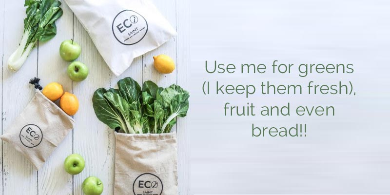 Drawstring Produce Bags by Eco Saint fresh for longer