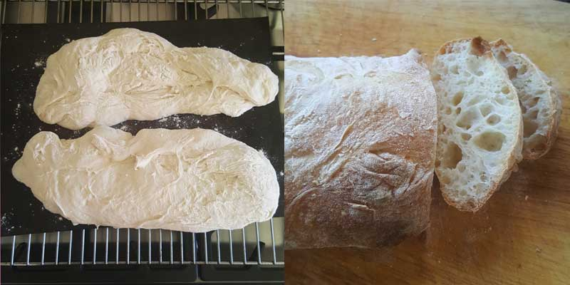 Finished Homemade Ciabatta Loaves