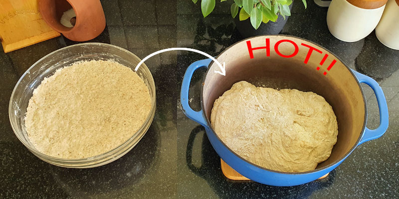 Putting the dough into the pot
