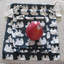 Drawstring Cotton Bags x 3 • Polar Bear Print