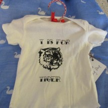Ivory Organic Cotton Baby T Shirt 6 Months Tiger Image