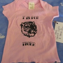 Pink Organic Cotton Baby T Shirt NEWBORN Tiger Image