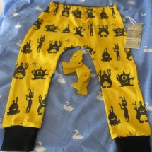 Baby Leggings Organic  Cotton Yellow Aliens