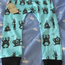 Baby Leggings, Organic Cotton Blue Aliens