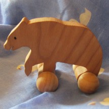 Wooden Bear Toy on Wheels  - Handmade Image