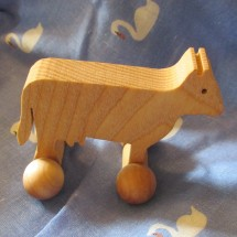 Wooden Cow Toy on Wheels Hand Made Image
