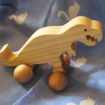 Wooden Dinosaur Toy on Wheels  - Handmade