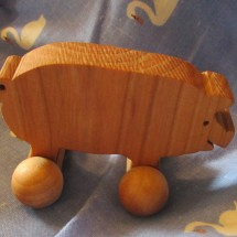 Pig Toy on Wheels Hand made