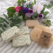 Luffa scrub pad+ Palm Oil free Soap Bar - SET