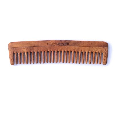 Wooden Neem Comb Wide Tooth Image