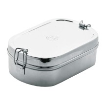 STAINLESS STEEL JUMBO OVAL LUNCHBOX 23 X 14.5 X 7.5CM