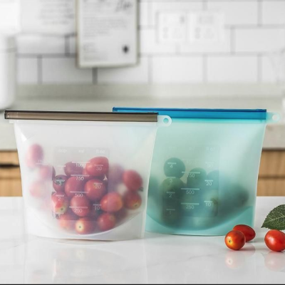 LARGE REUSABLE SILICONE FOOD STORAGE BAGS – 2 PACK Image