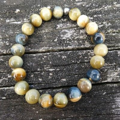 Blue Gold Tigers Eye Bracelet. Hawk Eye Image