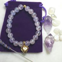 Lavender Aura Quartz Heart Bracelet