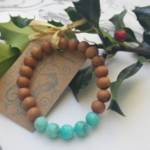 Amazonite and White Sandalwood Bracelet