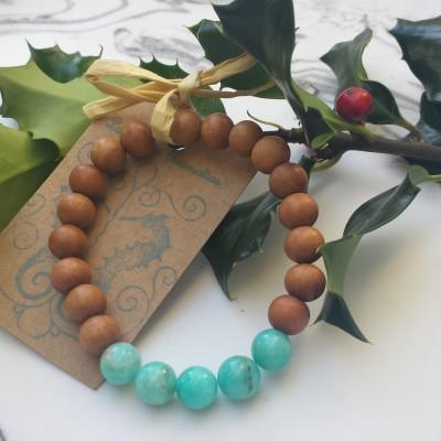 Amazonite and White Sandalwood Bracelet Image