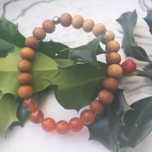Carnelian and White Sandalwood Bracelet