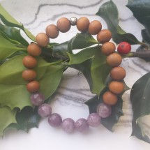Lepidolite and White Sandlwood Bracelet