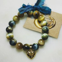Blue Gold Tigers Eye Bracelet