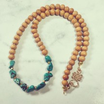 Tibetan Turquoise & White Sandalwood Necklace Image