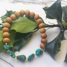 Tibetan Turquoise and Sandalwood Bracelet