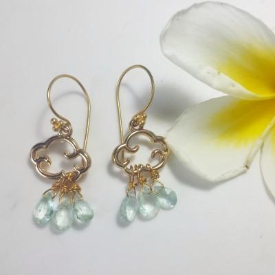 Aquamarine Cloud Earrings Image