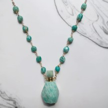 Amazonite Perfume Bottle Rosary Necklace