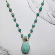 Amazonite Perfume Bottle Rosary Necklace