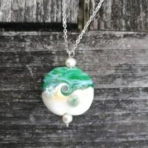 Sea Green Murrine Seascape Necklace