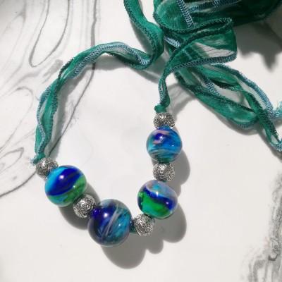 Peacock Swirl Lampwork Necklace Image