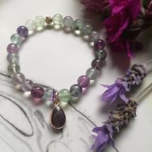 Fluorite and Amethyst Charm Bracelet