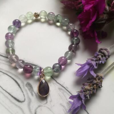 Fluorite and Amethyst Charm Bracelet Image