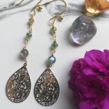 Esmeralda Emerald, Peridot, Labodorite Earrings