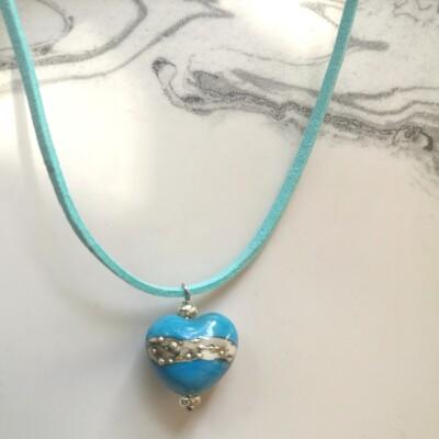 Skye Blue Lampwork Heart Necklace Image