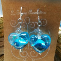 Ocean Swirl Heart Lampwork Earrings