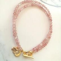 Strawberry Quartz  Faceted Bracelet