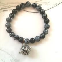 Snowflake Obsidian Diffuser Bracelet