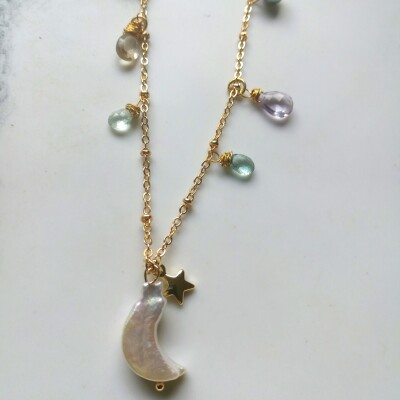 Celestial Moon Charm Necklace Image