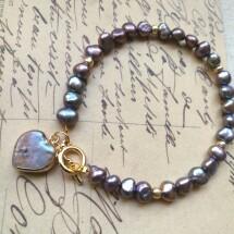 Grey  Peacock Pearl Bracelet