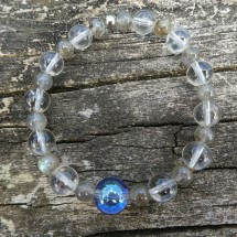 Aqua Aura, labradorite, clear quartz bracelet