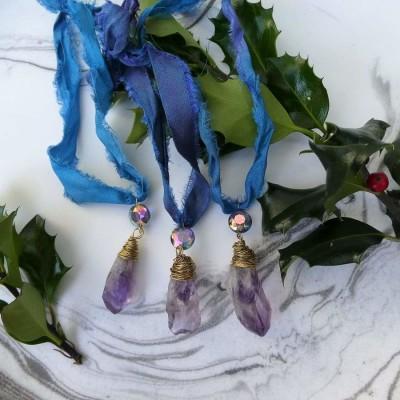 Amethyst Ornament. Set of three Image