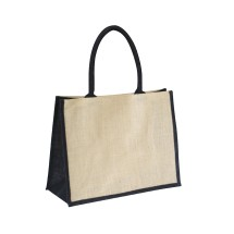 EJ-202 Jute Shopper Bag Natural With Black Gusset Image