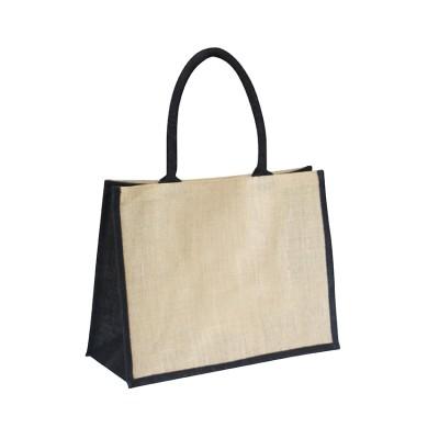 EJ-202 Jute Shopper Bag Natural With Black Gusset Image